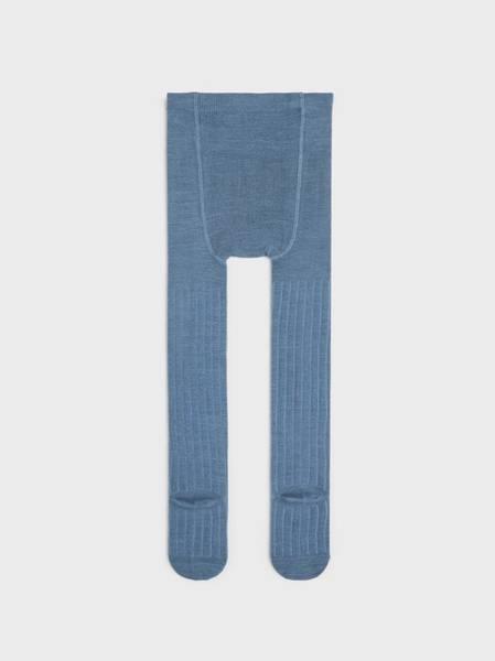 Bilde av NmmWakma wool rib pantyhose - China Blue